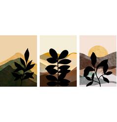 set mountain and botanical wall art abstract vector image
