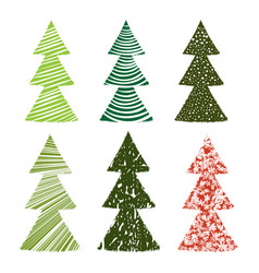 set of christmas tree simple on white vector image