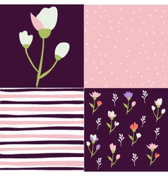 Set of floral pattern tulips vector