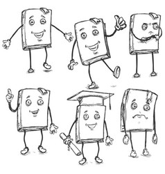 Set sketch characters - lively books vector
