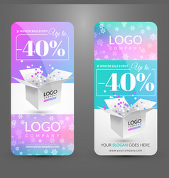 Set with banners with box corporate identity vector