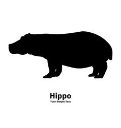 silhouette of a hippopotamus vector image vector image