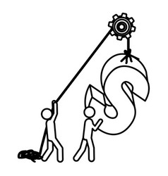 Silhouette workers with pulley holding word s vector