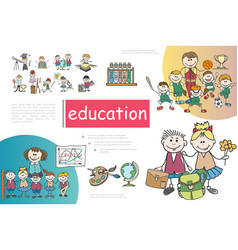 sketch primary school composition vector image