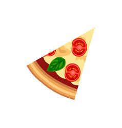 Slice pizza margherita vector