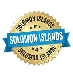 Solomon islands round golden badge with blue vector