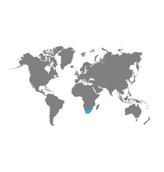South africa is highlighted on world map vector