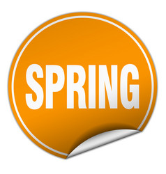 Spring round orange sticker isolated on white vector