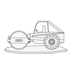 Steamroller heavy machinery construction icon vector