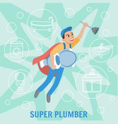 super plumber plumbing service vector image