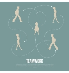 Teamwork banner with people silhouettes vector