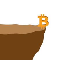 The bitcoin on the edge of a cliff vector