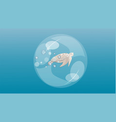 turtle in a bubble underwater vector image
