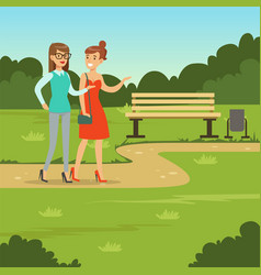 Two female friends walking in the park friendship vector