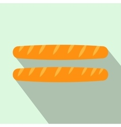 Two french baguettes icon flat style vector