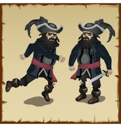 Two image pirate standing and running vector
