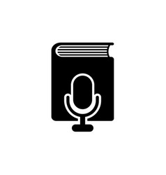 Voice book through microphone flat icon vector