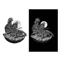 warrior riding a rooster vector image