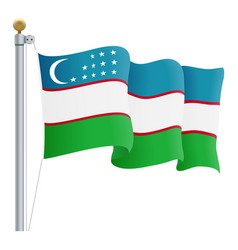 waving uzbekistan flag isolated on a white vector image