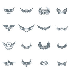 Wing logo icons set simple style vector