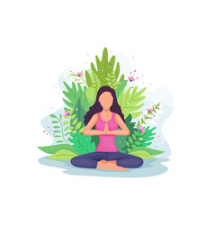 woman doing yoga exercise vector image