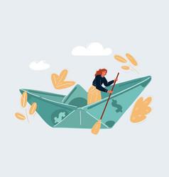 Woman sailing on dollar vector