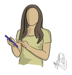 woman using mobile phone sketch vector image