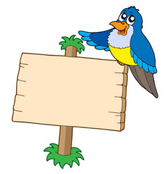 Wooden sign with blue bird vector