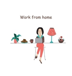 Working from home office flat concept vector