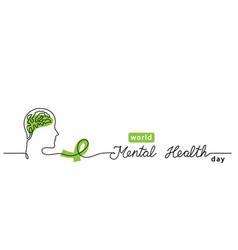 world mental health day minimalist line art border vector image
