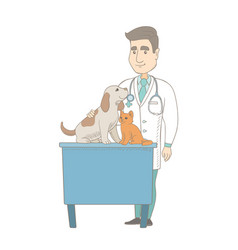 Young caucasian veterinarian examining pets vector