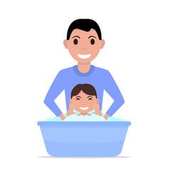 cartoon father bathes a baby vector image