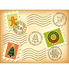Vintage Christmas postage set on old paper vector image
