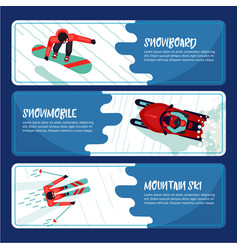 winter sport horizontal banners with active vector image vector image