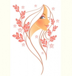 women profile leaf vector image vector image