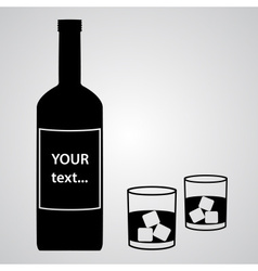 alcohol bottle and two black glasses eps10 vector image