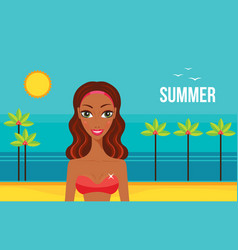 beautiful african american woman on beach summer vector image vector image