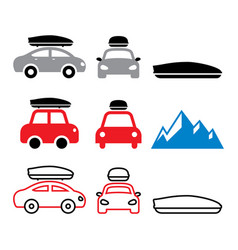 car roof box roof rack or carrier icons vector image vector image