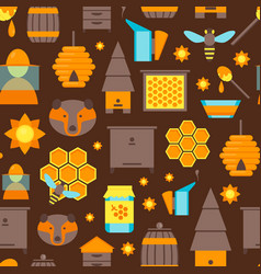 cartoon bee color background pattern vector image vector image