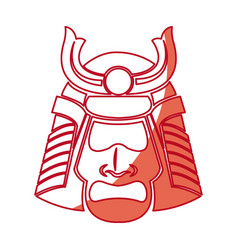 japanese samurai mask warrior face shadow vector image