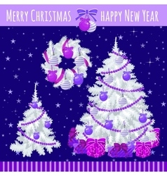 Poster with two Christmas trees and wreath vector image vector image