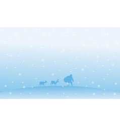 Santa with gift bag CHristmas winter landscape vector image