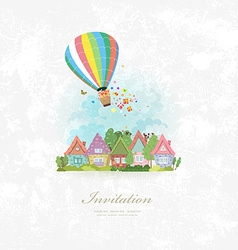 vintage invitation card with hot air balloon over vector image