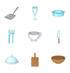 Dining items icons set cartoon style vector