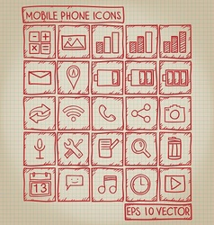 Mobile Phone Icon Doodle Set vector image