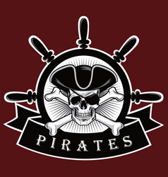 Pirate skull with cross bones hat and eyepatch red vector