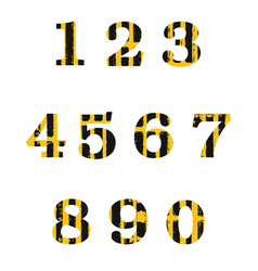 set of grunge distressed numbers vector image