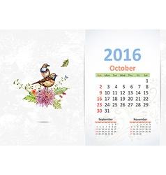 Calendar for 2016 October vector image vector image