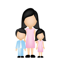 color silhouette faceless with mother daughter and vector image