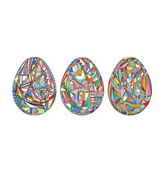 Easter eggs set background hand drawn vector